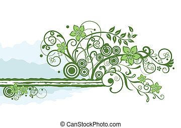 La frontera floral verde