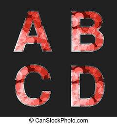 La fuente roja del vector iluminada con el efecto de reflexión en el fondo negro, set 1. Carta inicial A, B, C, D de monogramas y logotipos. El alfabeto de estilo brillante.