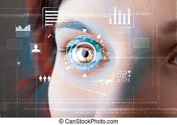 La futura mujer con el concepto del panel de ojos de la cibertecnología