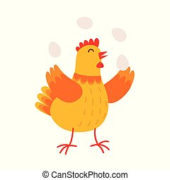 La gallina graciosa está haciendo malabares con los huevos vectorial de ilustración plana aislada en el fondo blanco. Lindo personaje de dibujos animados de gallina naranja.