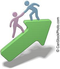 La gente ayuda a unir las flechas