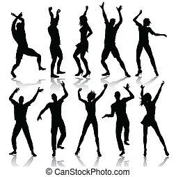 La gente bailando siluetas