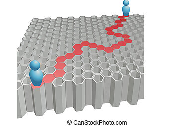 La gente busca la solución de la ruta hexagonal al rompecabezas