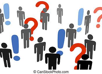 La gente busca signos de exclamación de información
