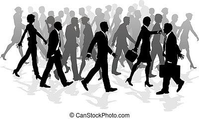 La gente camina por negocios acelera a la gente