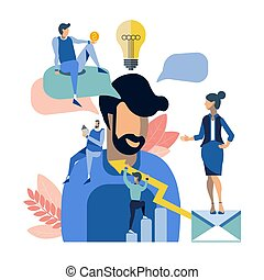 La gente creativa trabaja en equipo. Situación de trabajo en plan plano. Ilustración de vectores
