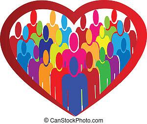 La gente de la Diversidad vector del logo del corazón