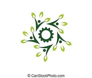 La gente de la naturaleza cura el logotipo del vector