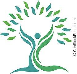 La gente de la naturaleza del árbol. El símbolo del logotipo Vector