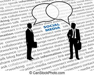 La gente de la red social habla burbujas