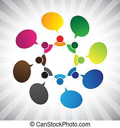 La gente de la red social hablando o charlando, vector gráfico