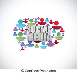 La gente de las redes sociales habla burbujas. Ilustración