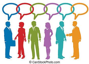 La gente de los medios sociales habla burbujas de habla