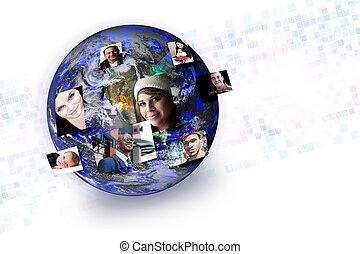 La gente de los medios sociales, la red de contactos