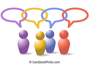 La gente de los medios sociales simboliza la cadena de enlace de la red