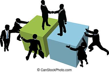 La gente de negocios ayuda a llegar a un acuerdo