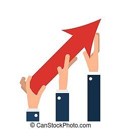 La gente de negocios ayuda con la flecha en crecimiento