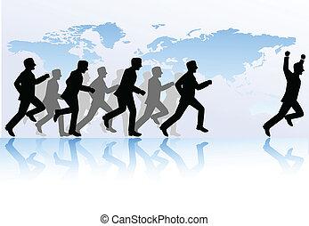 La gente de negocios compite