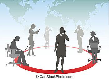 La gente de negocios conecta el teléfono inteligente toca la computadora portátil en una red de medios