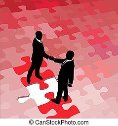 La gente de negocios está de acuerdo en resolver problemas