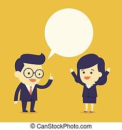 La gente de negocios habla con burbujas
