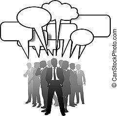 La gente de negocios habla de comunicarse en burbujas de habla
