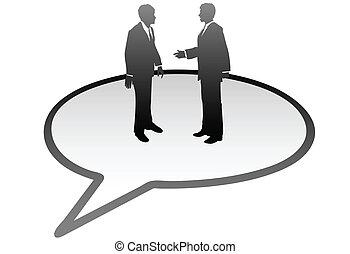 La gente de negocios habla dentro del lenguaje de comunicación