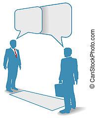 La gente de negocios habla y comunica