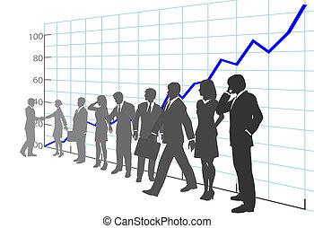 La gente de negocios saca provecho de la historia del crecimiento