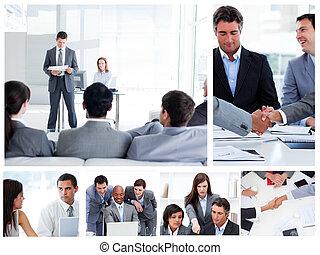 La gente de negocios se comunica