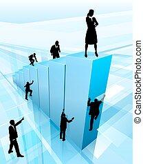 La gente de negocios siluetas concepto de éxito