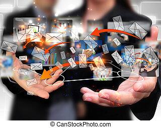 La gente de negocios tiene una red social