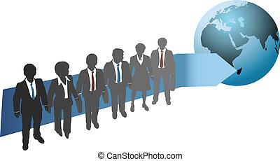 La gente de negocios trabaja para el futuro global