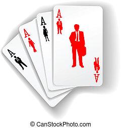 La gente de negocios usa recursos jugando a las cartas