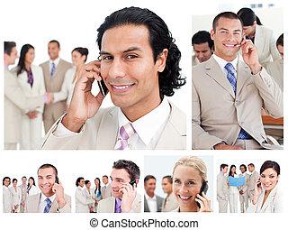La gente de negocios usa teléfonos