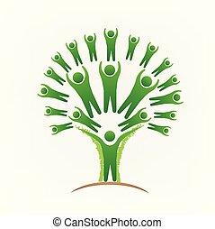 La gente del árbol trabaja en el logo vector imagen