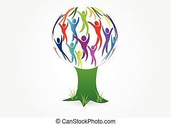 La gente del árbol vector de logo