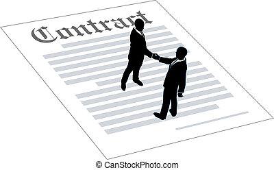 La gente del contrato firma un acuerdo