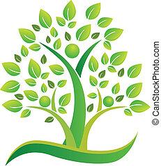 La gente del equipo de árboles simboliza el logo