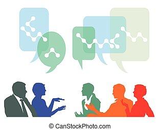 La gente discute e intercambia ideas