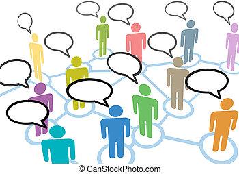 La gente habla de contactos sociales en las redes de comunicación