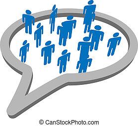 La gente habla en grupo de las redes sociales
