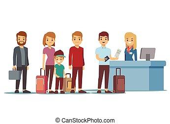 La gente hace cola en el aeropuerto. Vacación y vector de viaje concepto