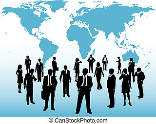 La gente ocupada del mundo se conecta bajo el mapa