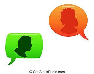 La gente se comunicaba en la burbuja del habla a color