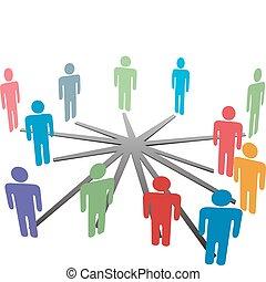 La gente se conecta con la red de medios sociales o los negocios