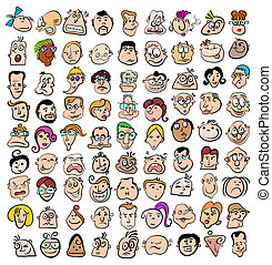 La gente se enfrenta a dibujos animados, a personajes felices