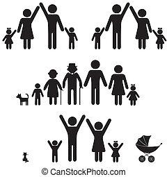 La gente silueta el icono de la familia.