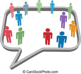 La gente simboliza en la red social de medios de comunicación burbujas