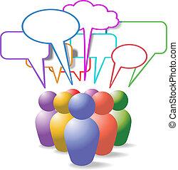 La gente simboliza las burbujas de los medios sociales
